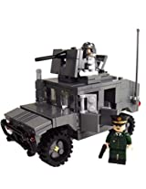 Brick Brigade Custom LEGO Military Vehicle Model Set US Modern Humvee HMMWV (High Mobility Multipurpose Wheeled Vehicle Only) DBG Dark Bluish Gray w/Crew and General Ross