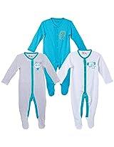 Infant Boys Sleepsuit - Pack of 3, Multi Colour (3-6 Months)