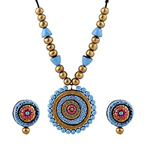 Artistri Sky Blue And Pink Round Pendant With Studs jewellery Set