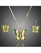 Fluttery Austrian Crystal Affixed 18k Real Gold Embellished Butterfly Jewellery Set