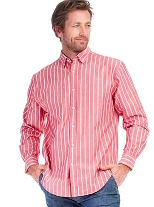 Cortefiel Camisa Chambray (rosa / blanco)