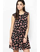 Besiva Floral Printed Multi Color Gathered Dress