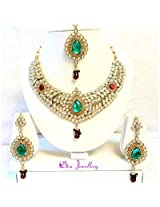 Diva Kundan Red Green Indian Bollywood Necklace Earrings Tika Set For Women