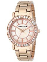 Anne Klein Womens AK/1670PMRG Swarovski Crystal Accented Rose Gold-Tone Bracelet Watch