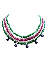 Bohemian Grace - 5 Line Real Emerald, Ruby Beads, Freshwater Pearl Necklace with Drop Sapphire