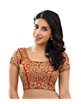 Red Dhupion Embroidered Designer Blouse Piece