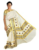 Atex Cotton Saree with Blouse (5156_Ivory)