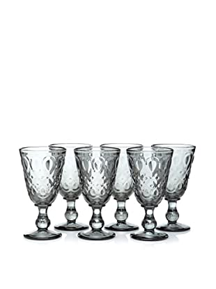 La Rochère Set of 6 Lyonnais Footed Wine Glasses, Charcoal