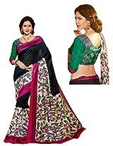 Brijraj Black Multi Bhagalpuri silk Beautifull Printed Saree Wih Unstitch Blouse