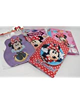 Disney World Minnie Mouse Set 4 Items: 3 D Autograph Book, Water Bottle, Travel Activity Set, 3 D Photo Album