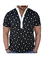 Black Collection Men's V-Neck Cotton T-Shirt (Black_Large)
