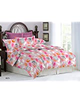 Bombay Dyeing Ambrosia 130 TC Cotton Double Bedsheet with 2 Pillow Covers - Pink