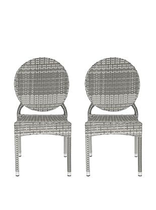 Safavieh Set of 2 Valdez Indoor/Outdoor Stacking Side Chairs, Grey