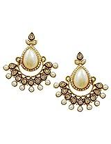 Lalso Designer Ethnic Bollywood White Danglers Bridal Wedding Jewellery Earrings-LFER013