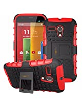 Heartly Flip Kick Stand Hard Dual Armor Hybrid Bumper Back Case Cover For Google Motorola Moto G - Red