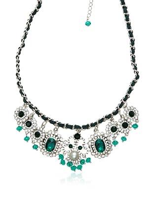 Cortefiel Collar Cristal Joya (Verde Oscuro)