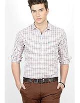 Checks Orange Slim Fit Casual Shirt Basics