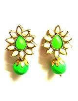 Gold Plated Drop Earringss for Workwear Use, With Kundan Theme and Floral Collection