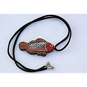 Petals of Earth Terracotta Red, silver, and gold fish necklace