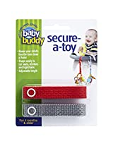 Baby Buddy 2 Count Secure-A-Toy, Red/Silver