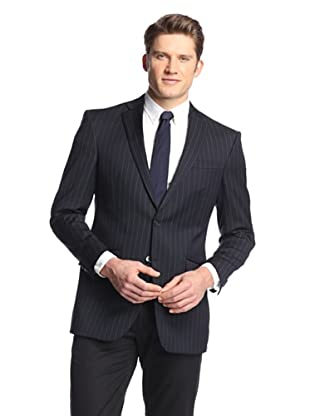 hickey Men's 2 Button Side Vent Wide Striped Sportcoat (Navy)