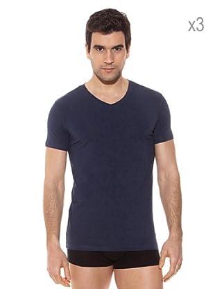 Pierre Cardin Pack x 3 Camisetas M / Corta (Marino)