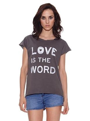The Hip Tee Camiseta Love is the World (Negro Lavado)