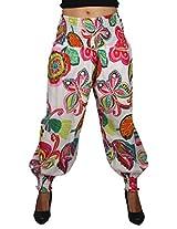 True Fashion White Multi Colour Butterfly Printed Cotton women's Salwar