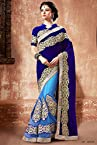 Georgette and Satin Lehenga Saree In Blue Colour 5004