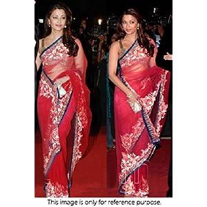 Ninecolours SR0221084 Aishwarya Rai Saree - Wine Red