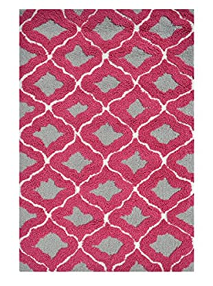 Pop Accents Marrakesh Indoor/Outdoor Scatter Rug, Grey/Raspberry, 22