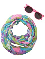 Accessories 22 Girls' Splatter Tie Dye Sunglass and Infinity Scarf Set, Multi, One Size