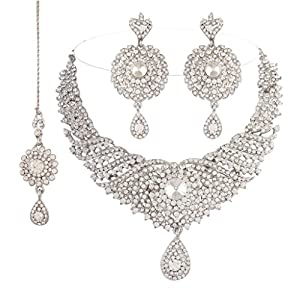 Sparkling White Ethnic Collection Rodium Plated Cocktail Jewellery Set Maang Tikka For Women by I Jewels - Model Number M4028ZW