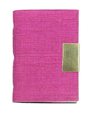 Marina Vaptzarov Linen Soft Cover Journal with Brass Sliding Closure, Fuchsia