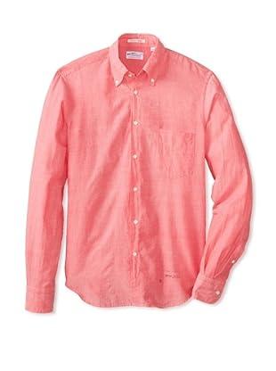 GANT Rugger Men's Selvage Madras E-Z Original Fit Button Down Shirt (Tropical Coral)