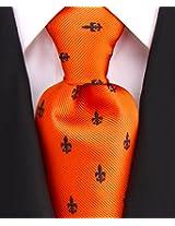 Scott Allan Men's Fleur De Lis Necktie - Copper/Black