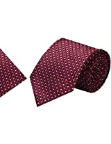 Navaksha Maroon Micro Fiber Tie with Pocket Square