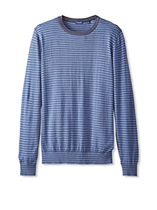 Thirty Five Kent Men's Silk/Cotton Multi Stripe Crew Neck
