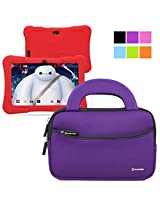 Evecase Neoprene Sleeve Case Bag for Express Y88X 7-inch Kids / Dragon Touch Android Tablet - Purple with Handle and Accessory Pocket