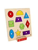 Hape Geometric Shapes Wooden Toddler Knob Puzzle