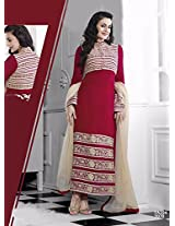 Amisha Patel in New Arrival maroon and cream Salwar suit