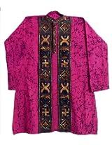 Dollsofindia Magenta With Black Batik Kurta With Kantha Embroidery (Xxx-Large_Magenta_Cotton)