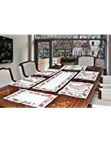 "Avira Home Celebration Table Mats & Table Runner Set- 6 Mats (13""x19"") & 1 Runner (13""x39""), Machine Washable"