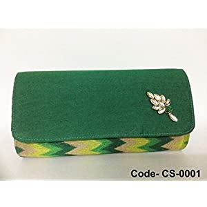 Chanchal Silk & Chanderi Clutch - Green With Multi Color Back