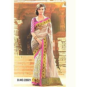 Bhagalpuri Silk Printed Beige Half & Half Saree - 22021