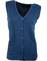 Casanova Women's Sleeveless Cardigans (2135, Indigo, L)