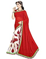 Shree Bahuchar Creation Women's Chiffon Saree(Skb25, Red and Cream)