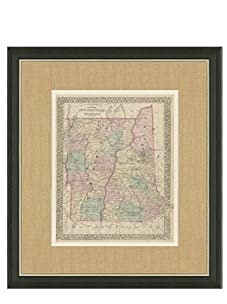 """Mitchell-Antique Map of New Hampshire & Vermont, 1860's-1870's, 21"""" x 23"""""""