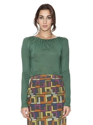 SIYU Camiseta Básico Pliegues Cuello (Verde)