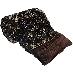 Little India Traditional Floral Design Velvet Cotton Double Bed Quilt - Brown  (DLI3DRZ402)